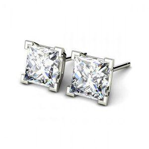 2 Ct Princess Cut Diamond Stud Earring 14k White G